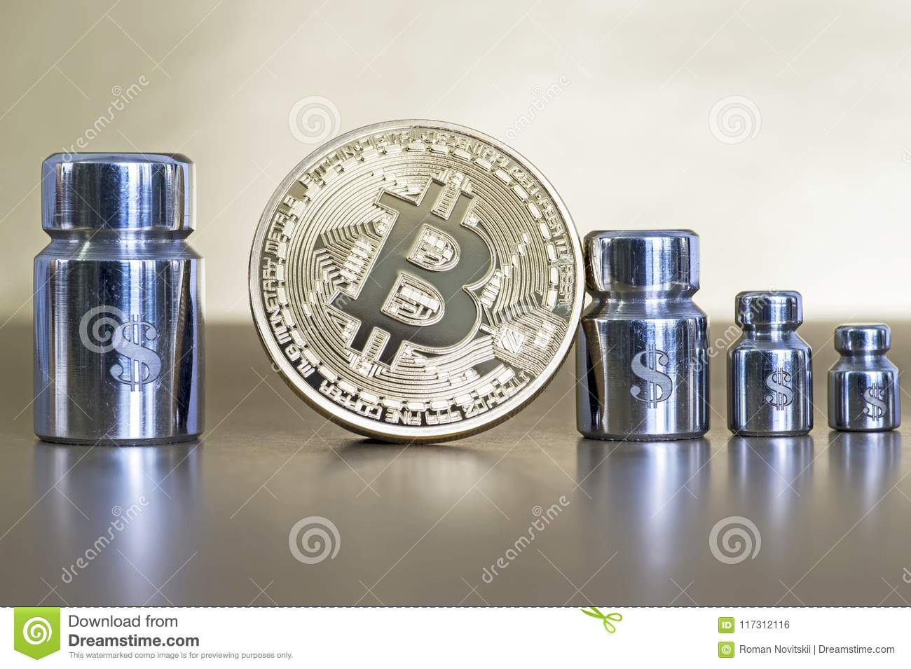 Bitcoin With Weights And Engraved With Symbols Of Dollar Showing