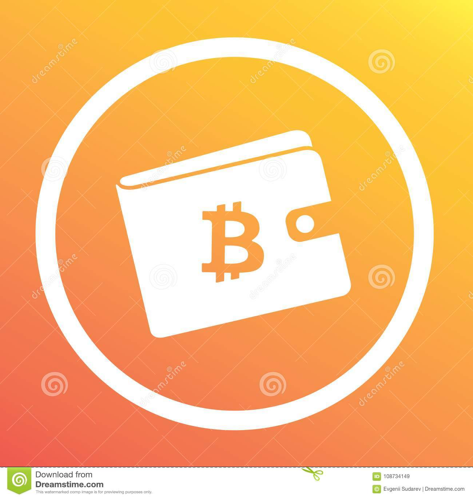 Bitcoin White Wallet With Logo On Orange Background