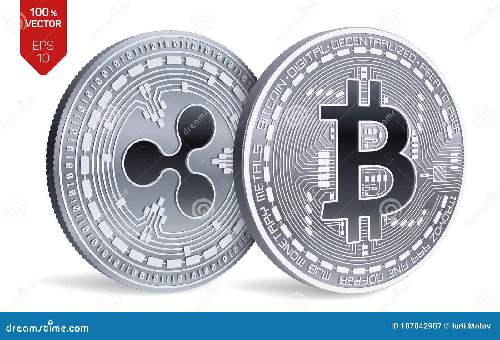 Bitcoin y ondulación monedas físicas isométricas 3D Moneda de Digitaces Cryptocurrency Ilustración del vector