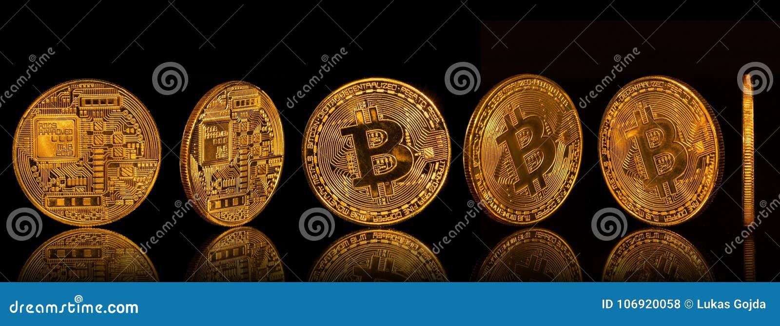 Bitcoin złocistych monet kolekcja na czarnym tle