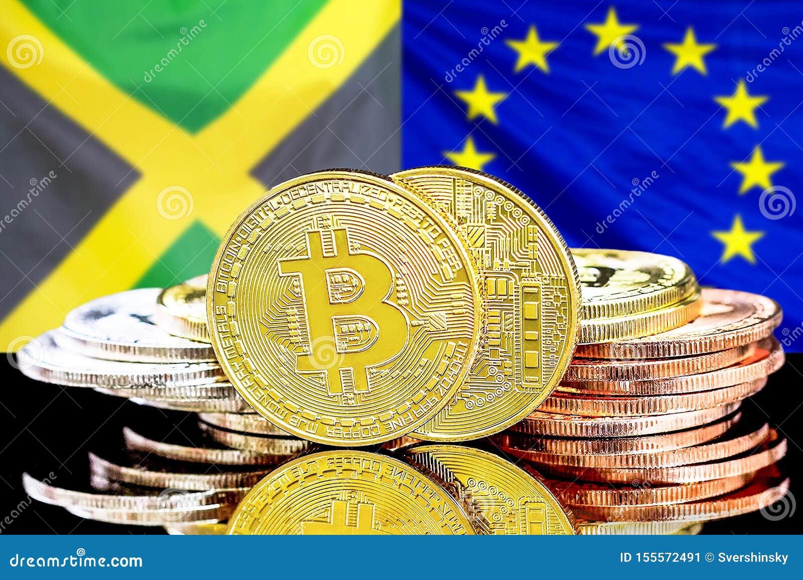 Bitcoins auf Jamaika- und Gemeinschaftsflagge Hintergrund