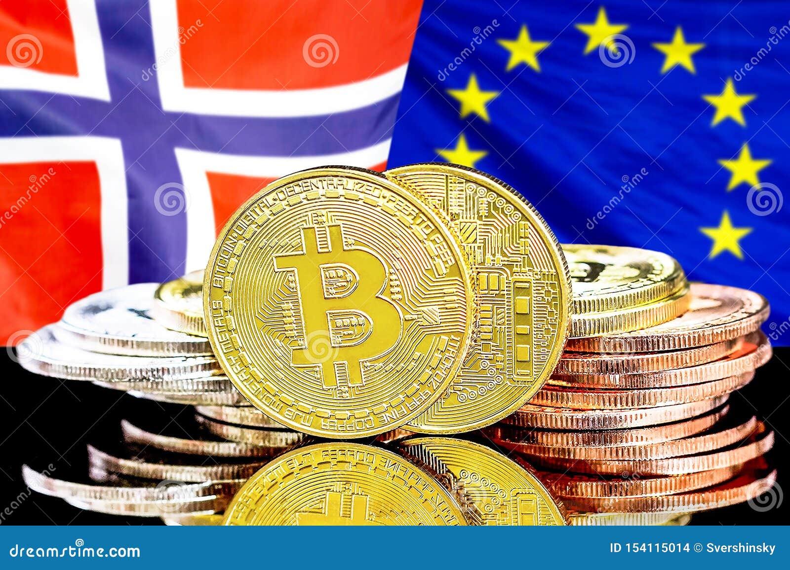 Bitcoins auf Norwegen- und Gemeinschaftsflagge Hintergrund