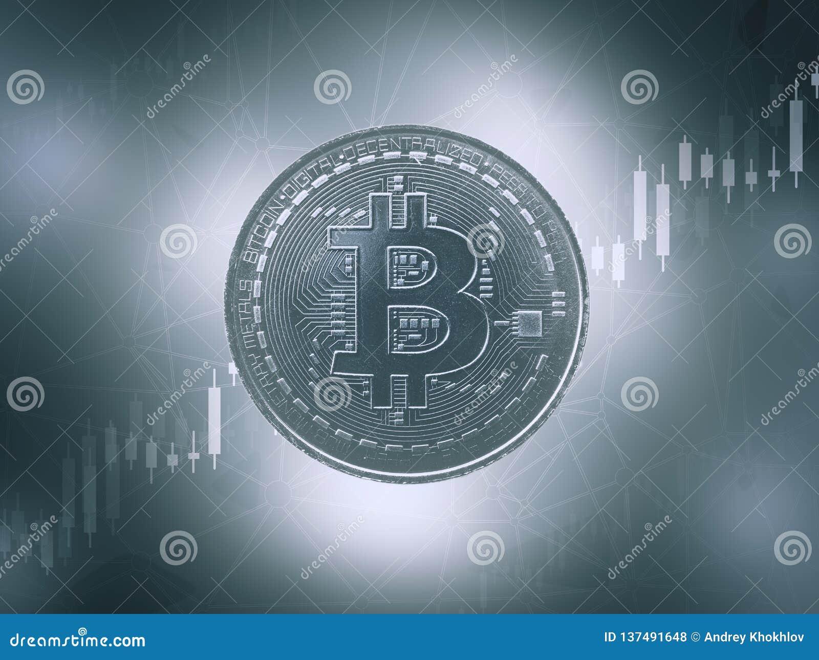 Bitcoins e conceito virtual novo do dinheiro Bitcoin azul