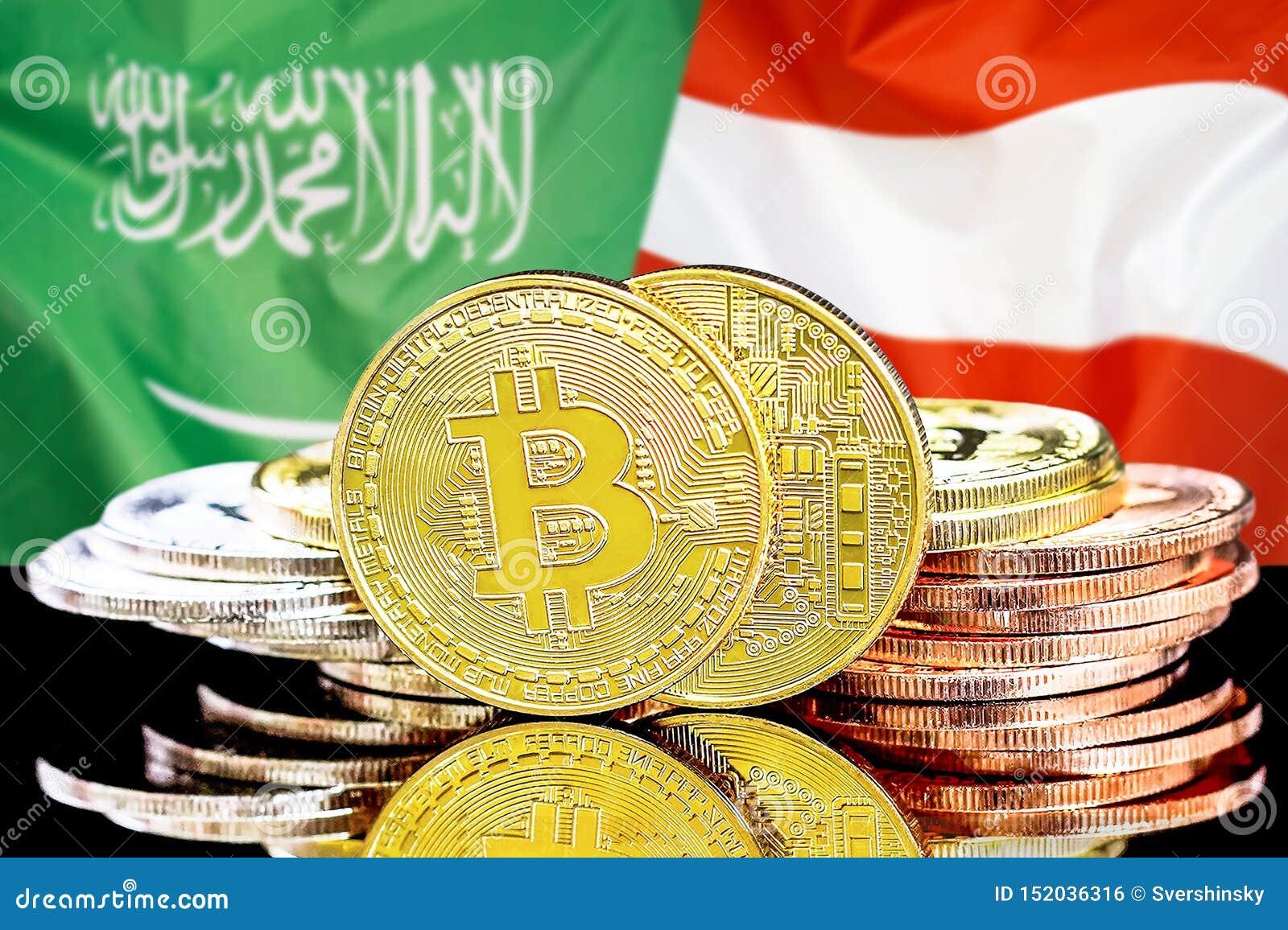Bitcoins fundo na bandeira de Arábia Saudita e de Áustria