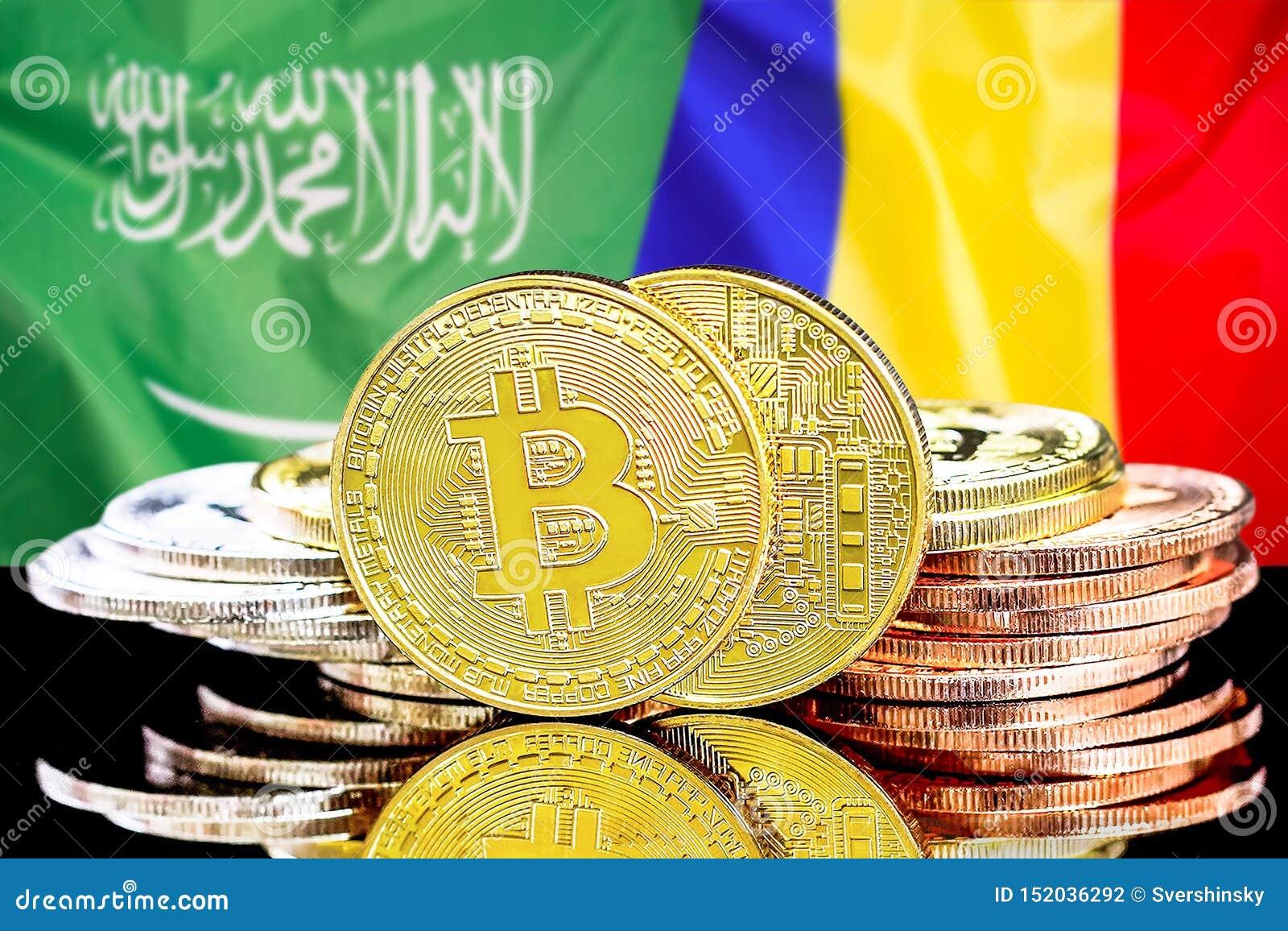 Bitcoins fundo na bandeira de Arábia Saudita e de Moldova