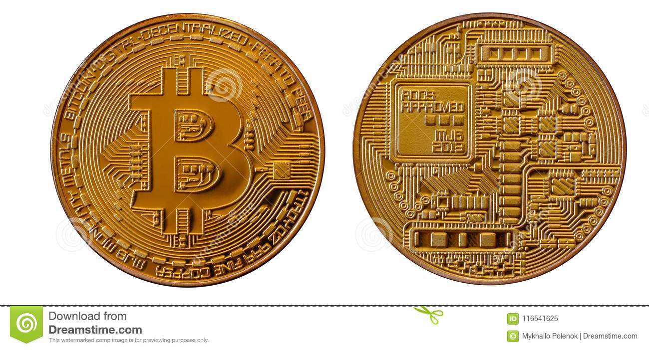 Bitcoins Physical Bit Coins Digital Currency Cryptocurrency Mining Concept Two With