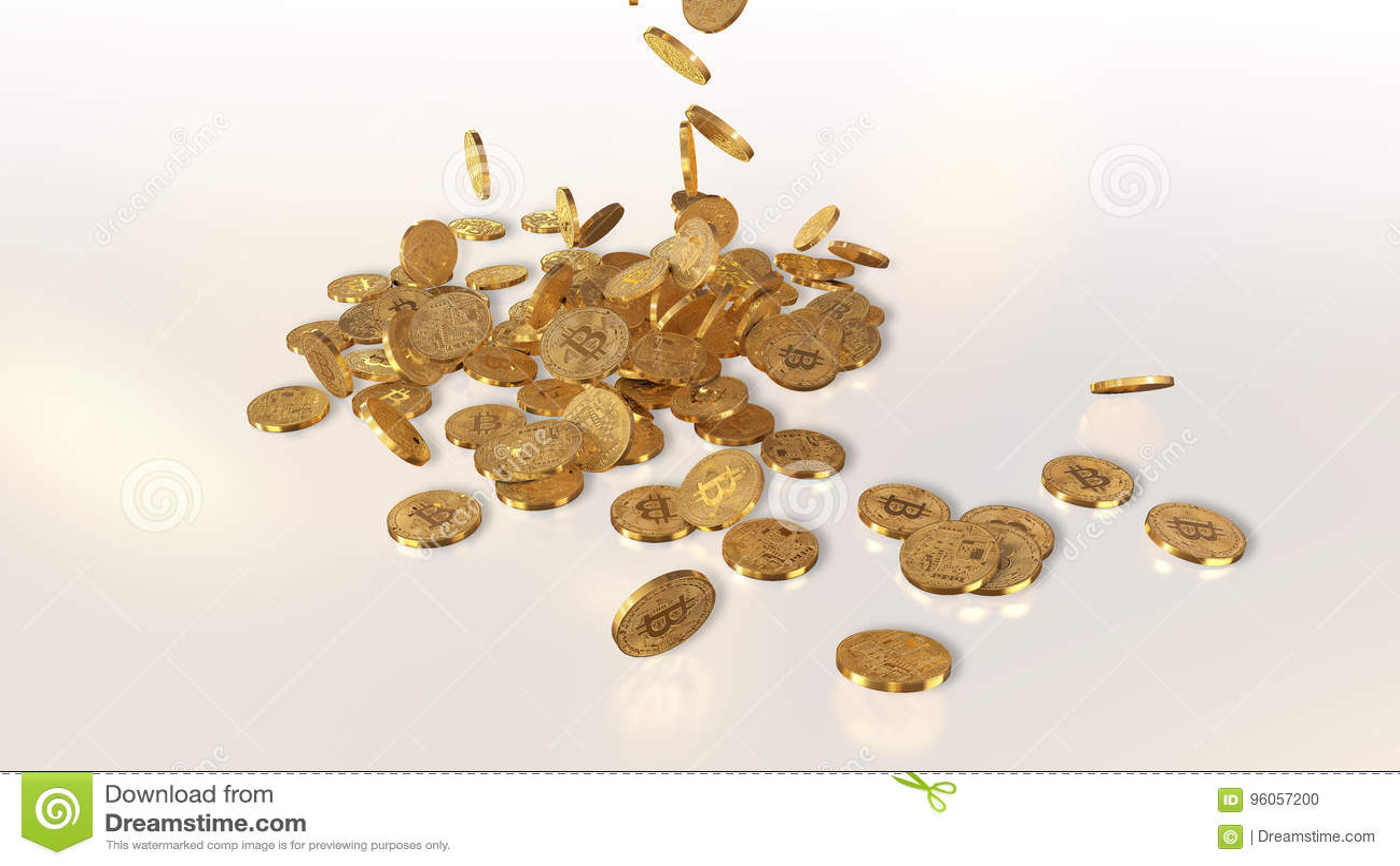 Bitcoins tombant sur une pile