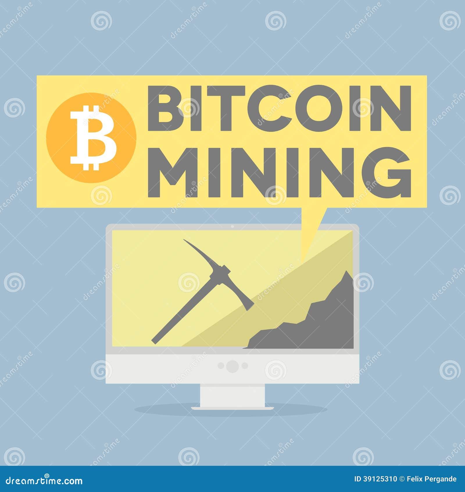 显示bitcoin采矿的显示器的minimalistic例证.
