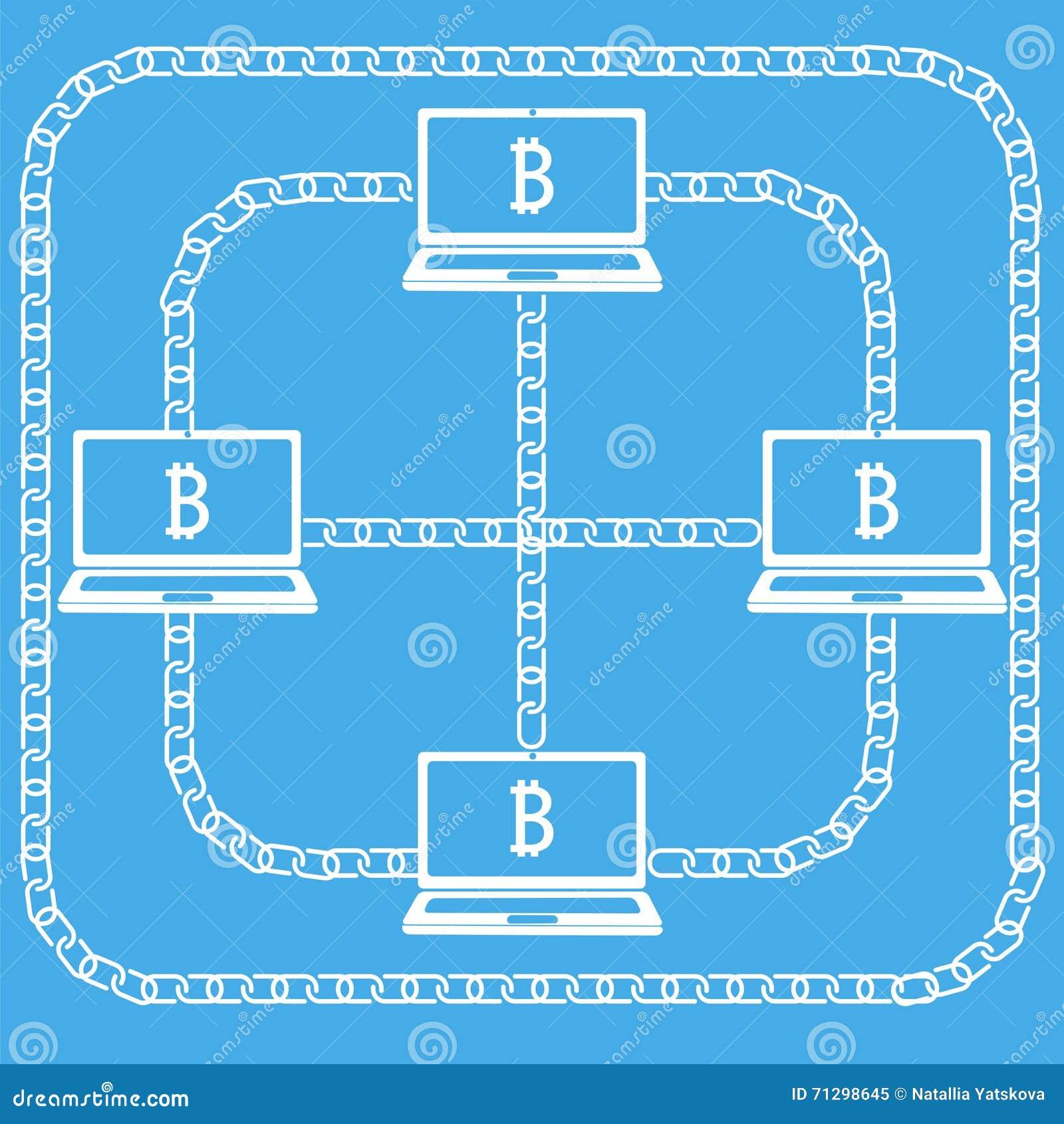 Bitcon del ordenador portátil de Blockchain