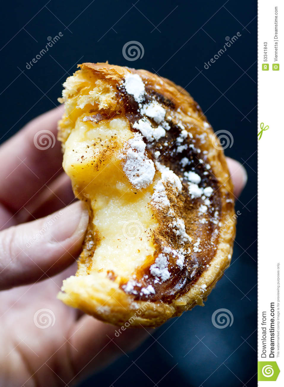 bite taken out of a pastel de nata or portuguese custard tart stock photo image 53341843. Black Bedroom Furniture Sets. Home Design Ideas