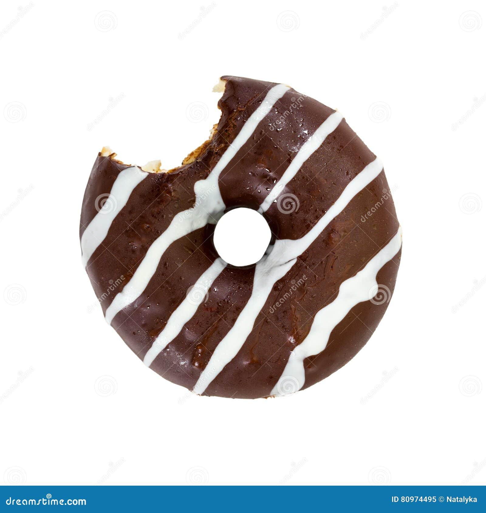 Biten chokladmunk som isoleras på vit bakgrund