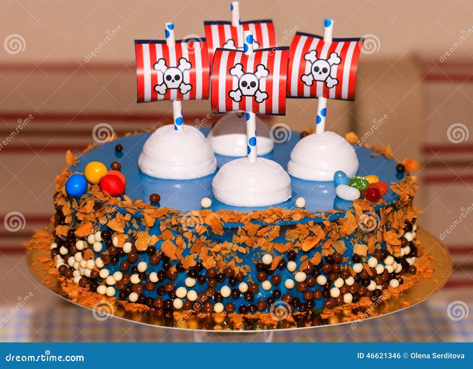 Bithday Kuchen Der Kinderpartei Mit Piraten Stockfoto Bild Von