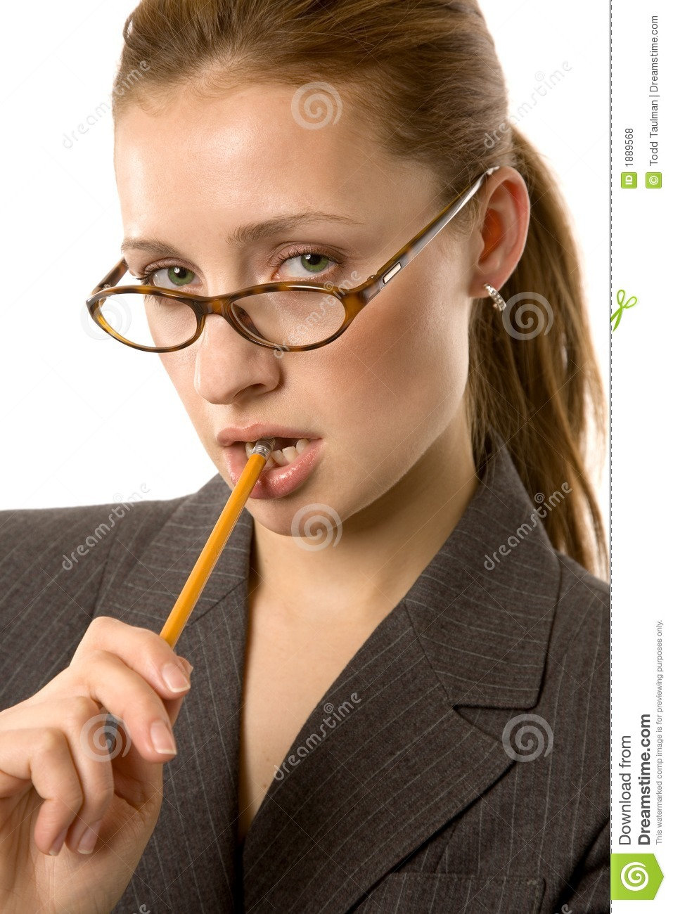 biting on a pencil stock photo image of attractive beauty 1889568