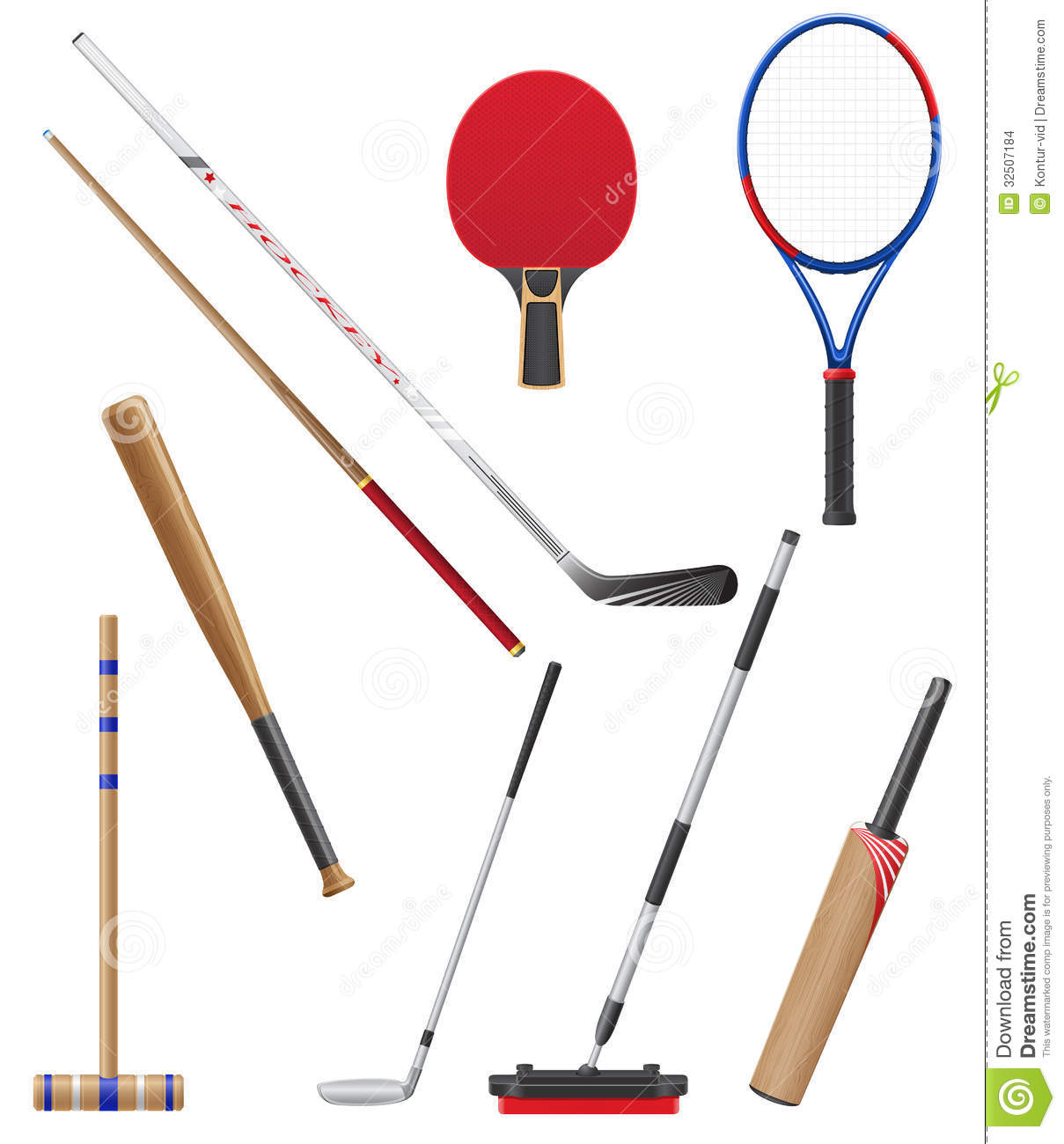 Bits And Stick To Sports Vector Illustration Stock Images - Image ...