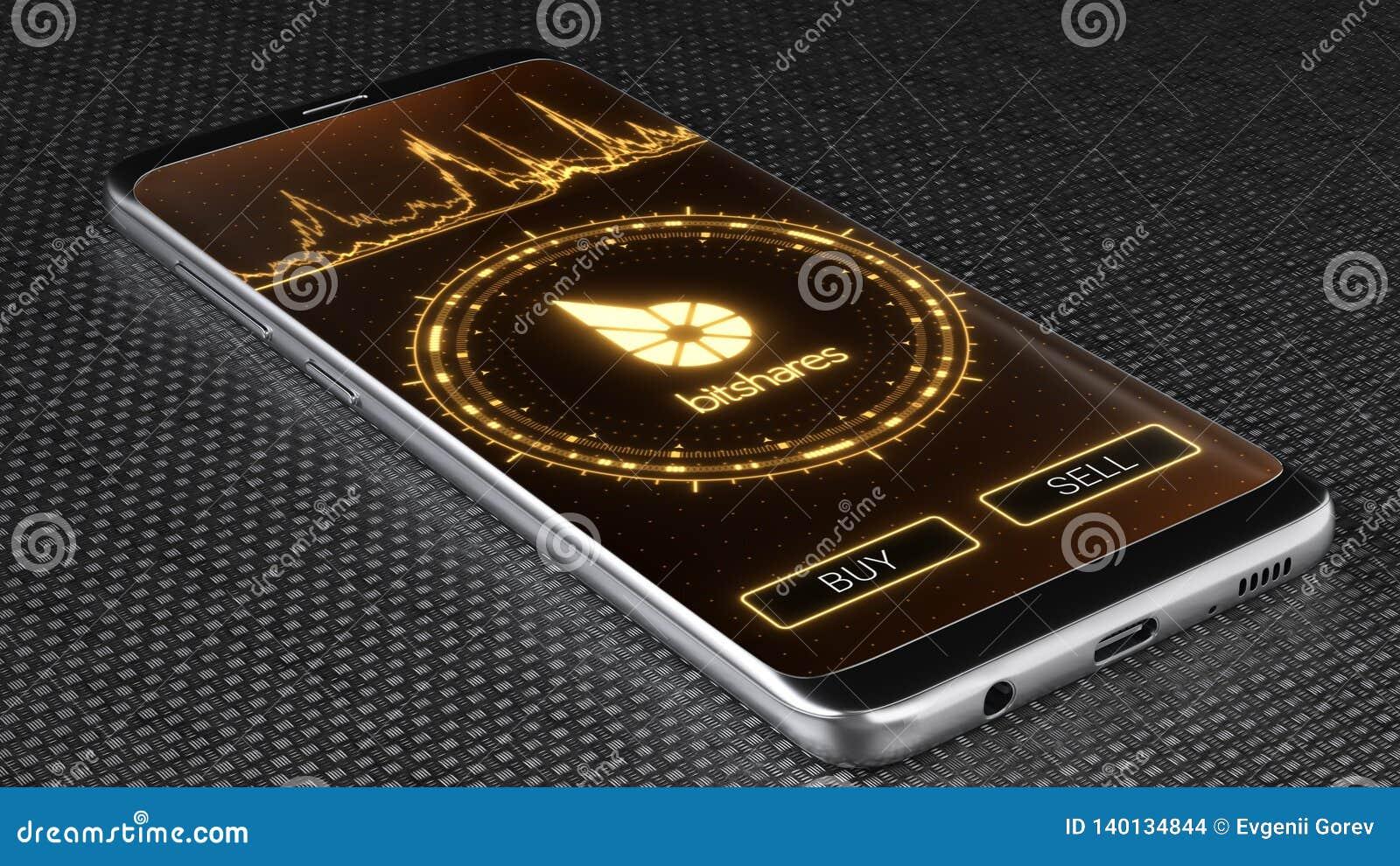 Bitshares cryptocurrency symbol on mobile app screen. 3D illustration