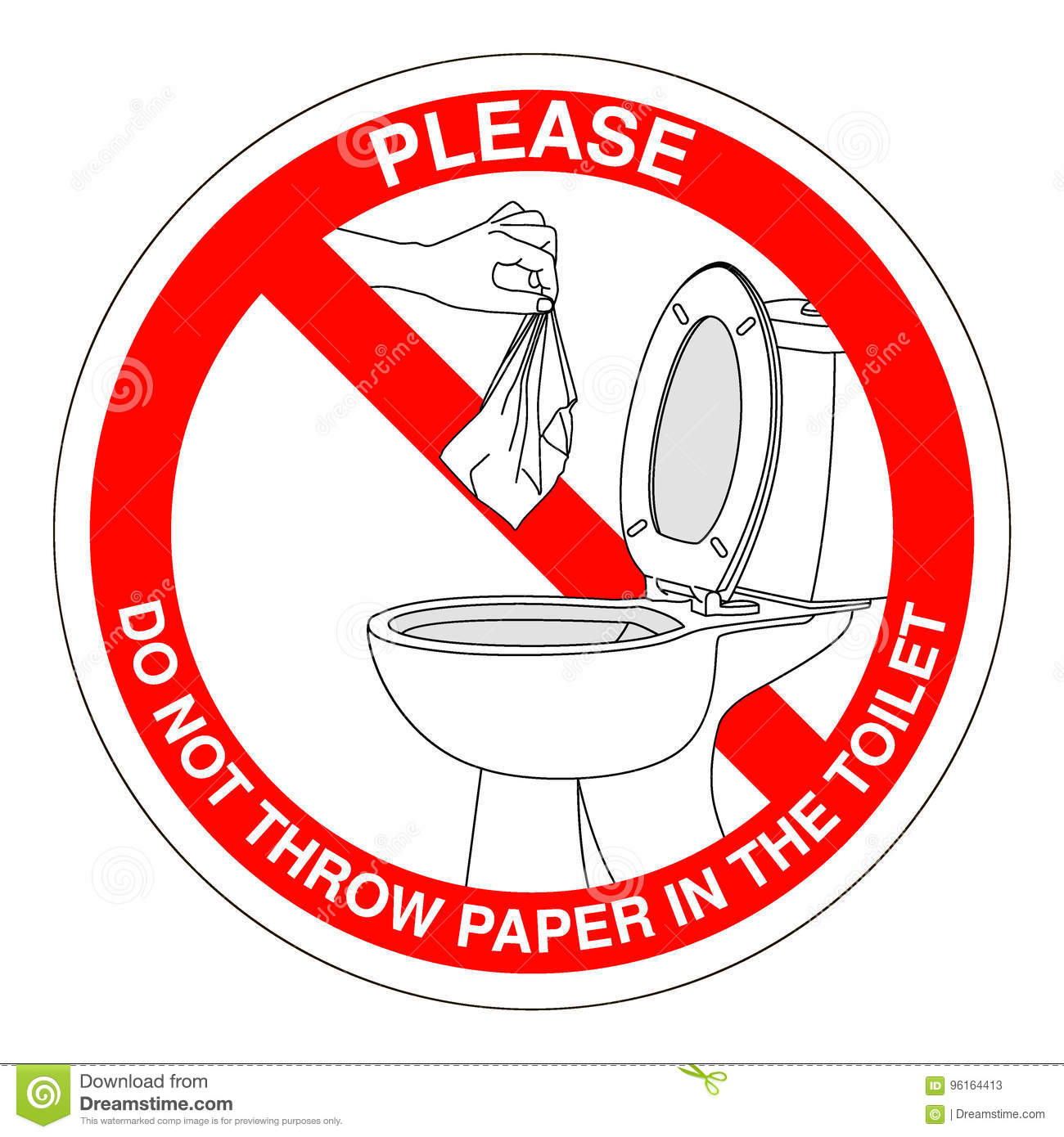 Do Not Throw Trash In Toilet Sign