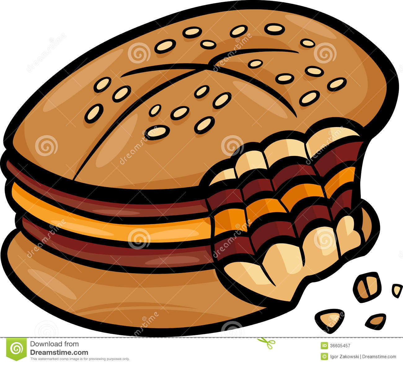 Bitten Cheeseburger Cartoon Clip Art Royalty Free Stock ...