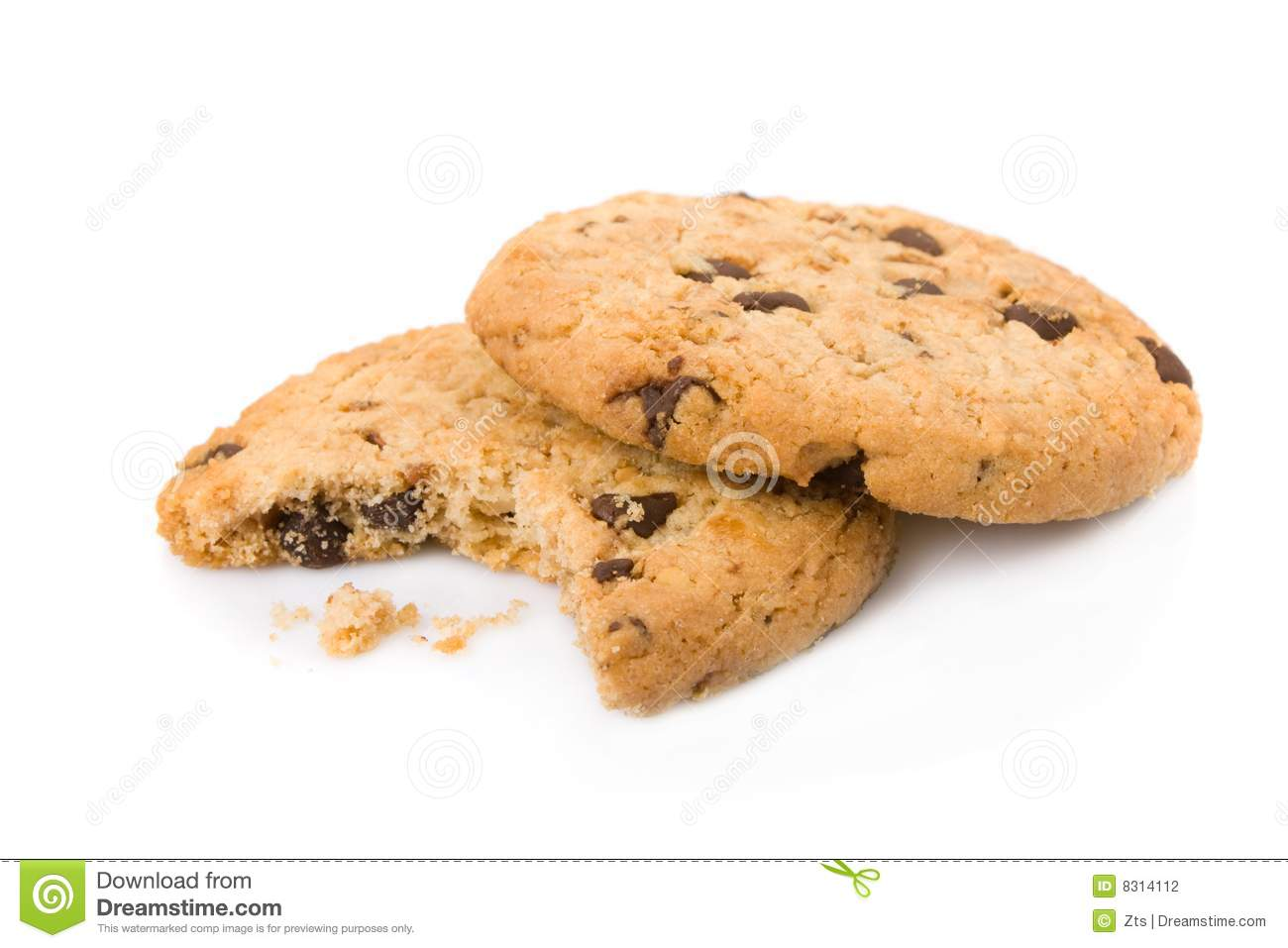 Bitten Chocolate Chip Cookies Stock Photography - Image: 8314112: dreamstime.com/stock-photography-bitten-chocolate-chip-cookies...