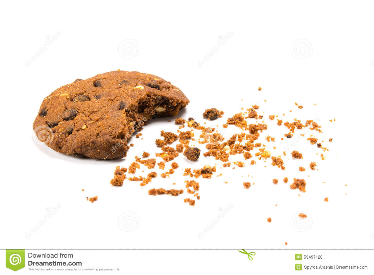 u0391 bitten cookie with crumbs stock photo image of chocolate chip cookie clipart chocolate chip cookies clip art small
