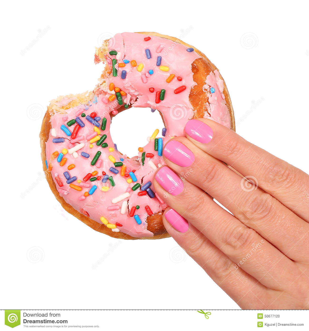 Bitten Donut with Sprinkles in Woman Hand isolated