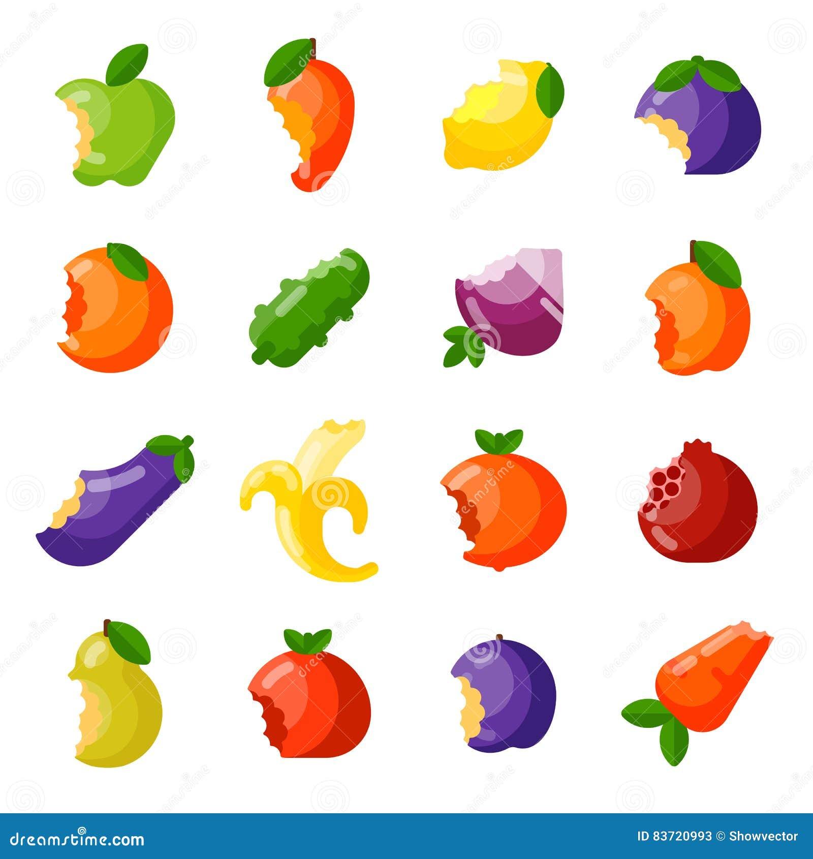 Bitten Fruits Vector Set. Stock Vector