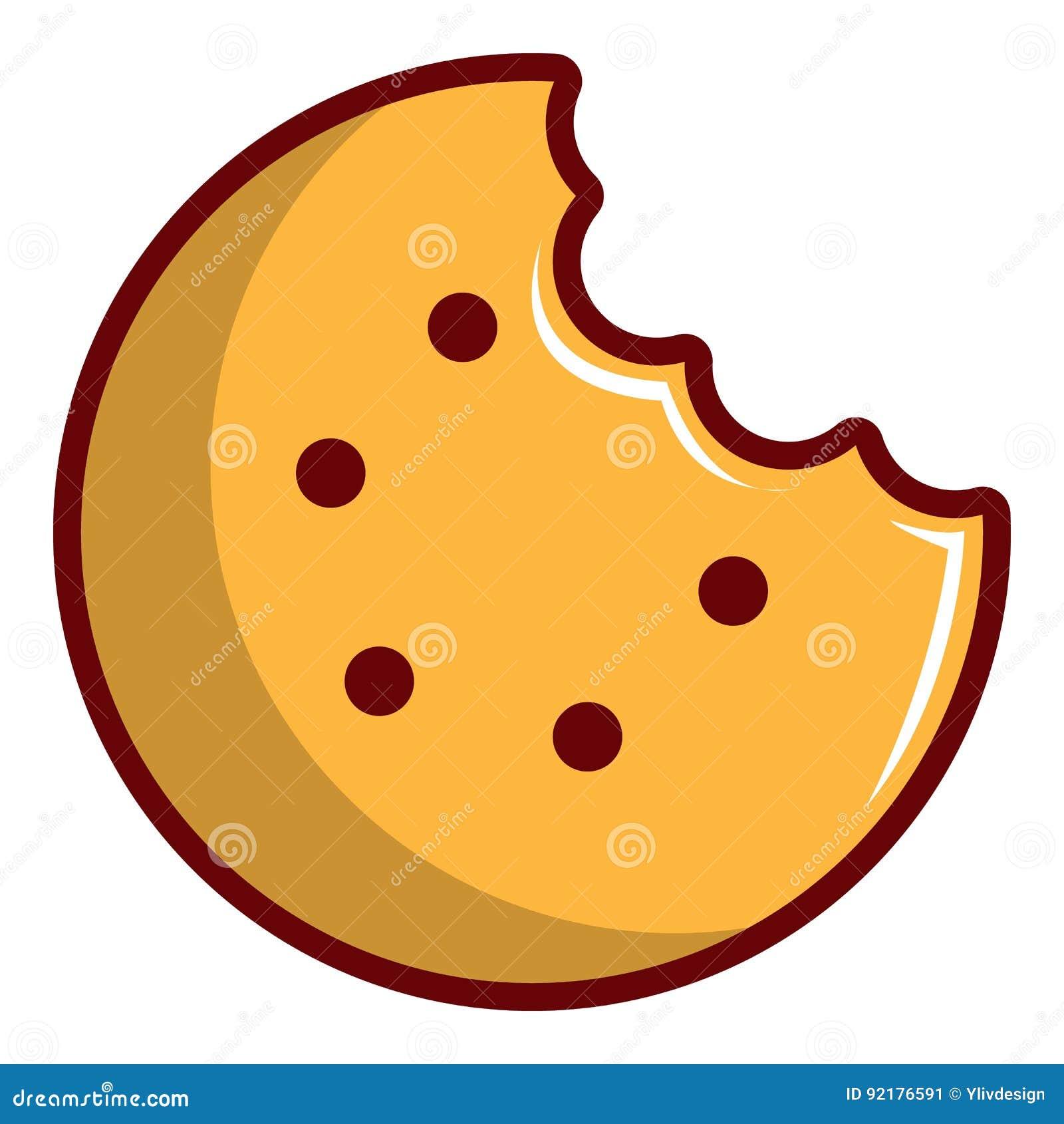Bitten Round Cookie Icon Cartoon Style Stock Vector