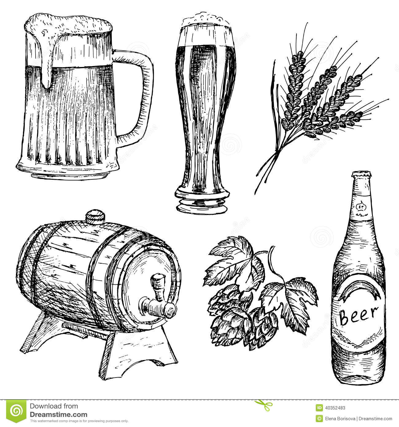 Bitter beer. hand drawing set of vector sketches.