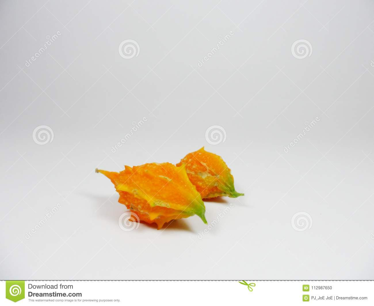 Bitter gourd,bitter melon, bitter gourd, bittersquash,balsam-pear,Momordica charantia isolated on a white background
