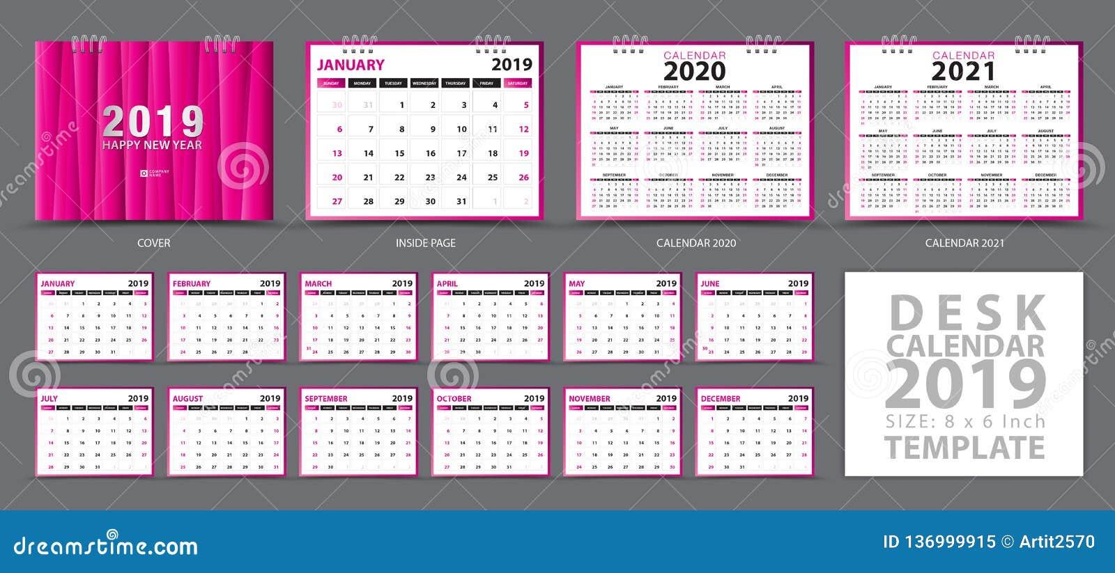 Biurko kalendarza 2019 szablon, set 12 miesiąca, kalendarz 2019, 2020, 2021 grafika