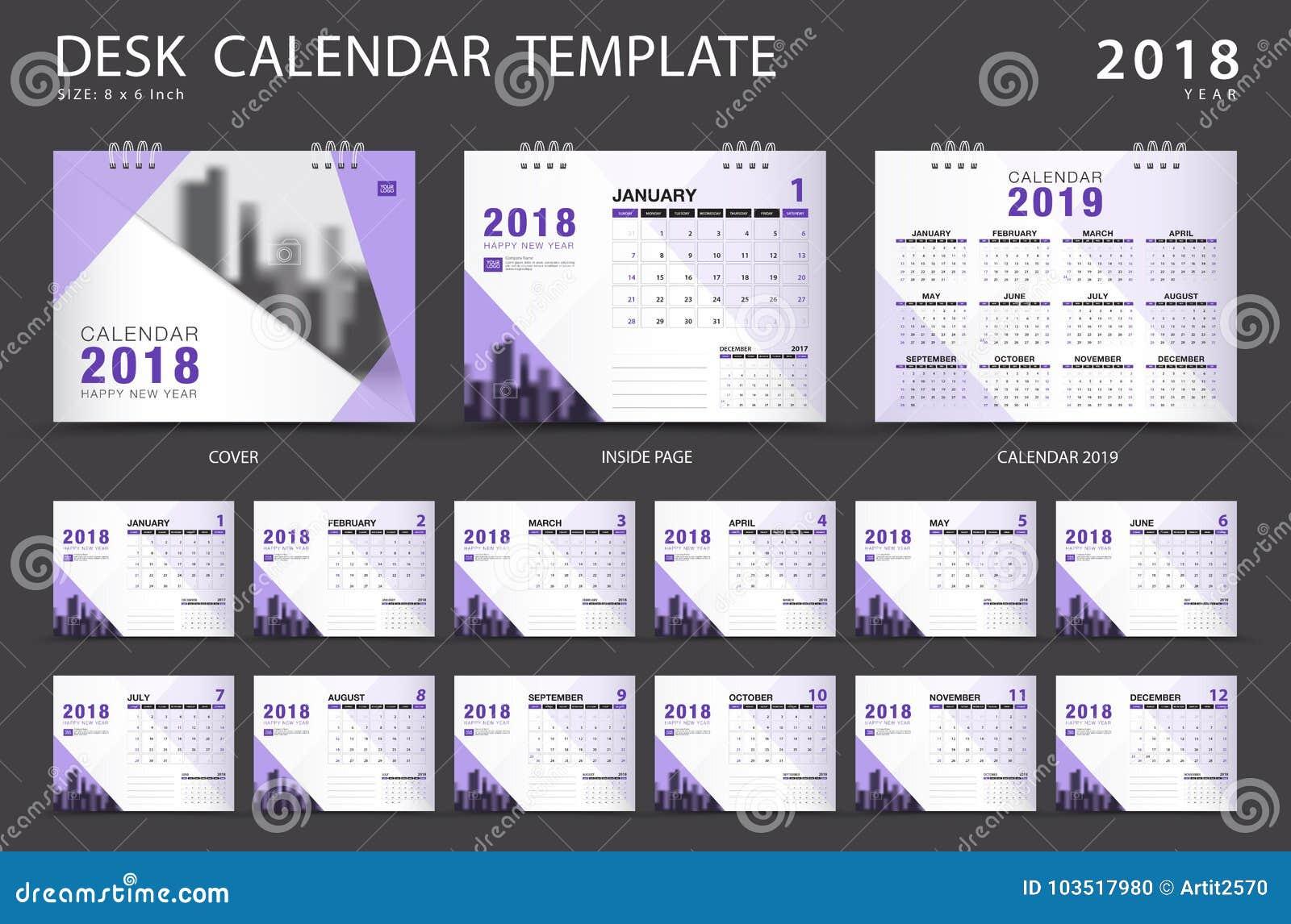 Biurko kalendarza 2018 szablon Set 12 miesiąca planista