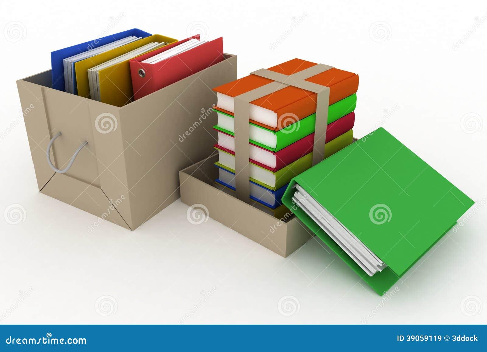 Biurowe falcówki i książki w kartonie