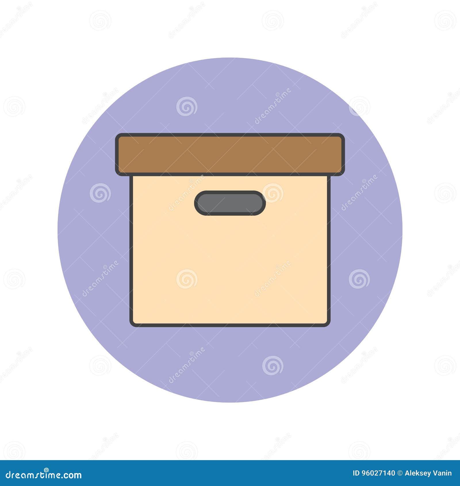 Biurowego kartoteki pudełka cienka kreskowa ikona, archiwum wypełniał konturu wektoru lo