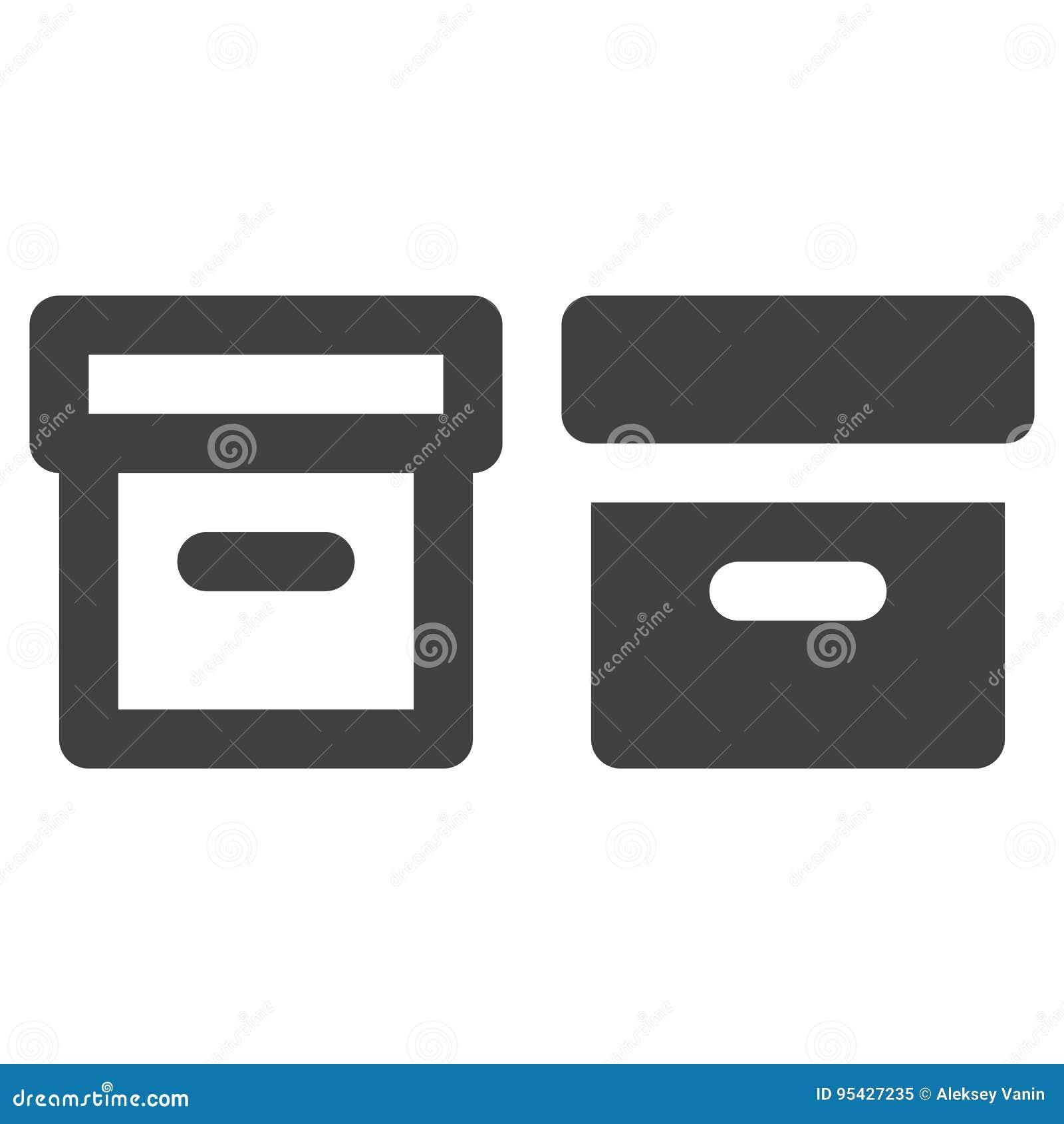 Biurowego kartoteki pudełka gęsta linia, bryły ikona, kontur i piktogram odizolowywający na bielu, wypełniający wektoru znaka, li