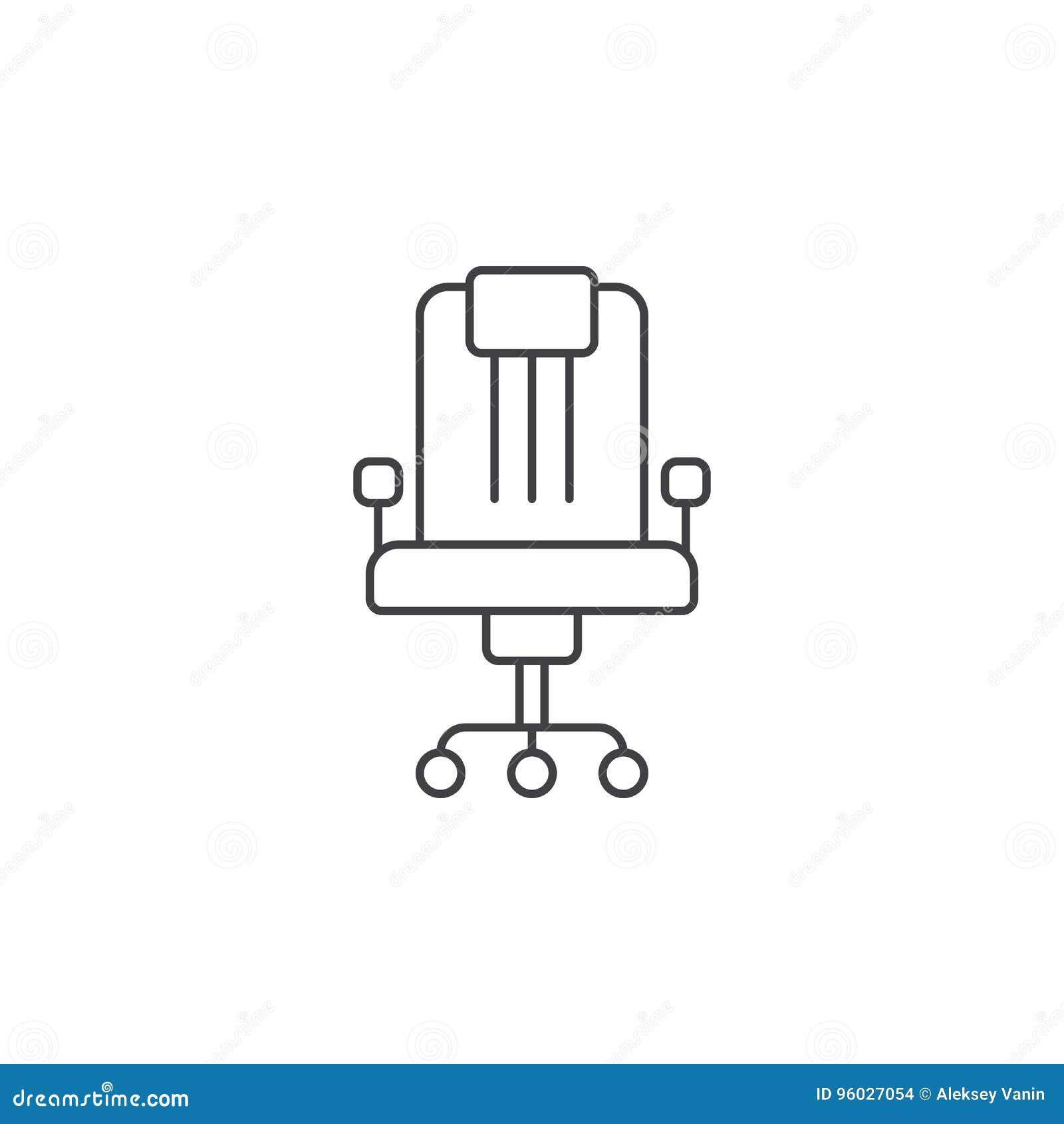 Biurowego krzesła cienka kreskowa ikona, konturu loga wektorowa ilustracja, l