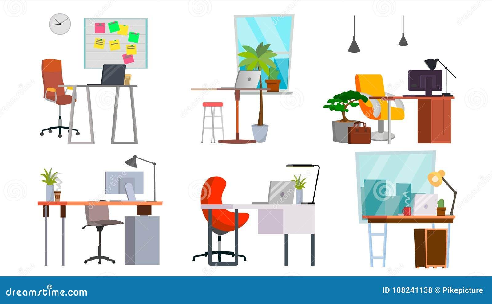 Biurowego miejsca pracy Ustalony wektor Wnętrze Biurowy pokój, Kreatywnie przedsiębiorcy budowlanego studio PECET, komputer, lapt