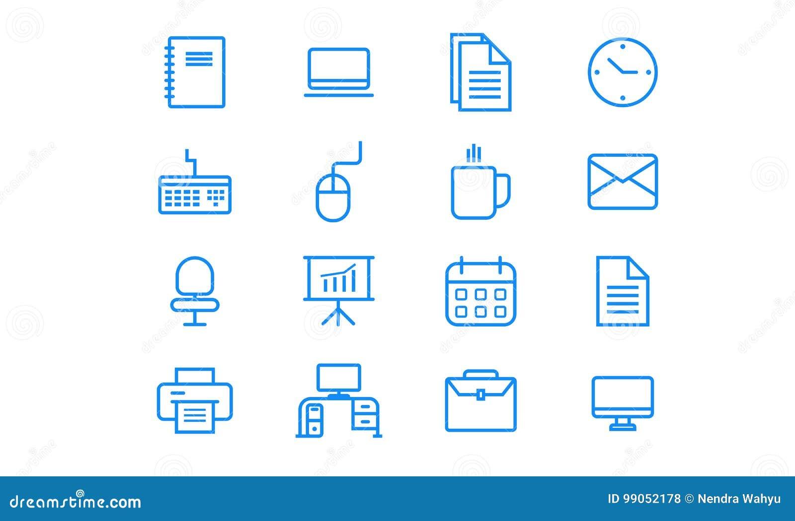 Biurowy minimalistyczny ikona set