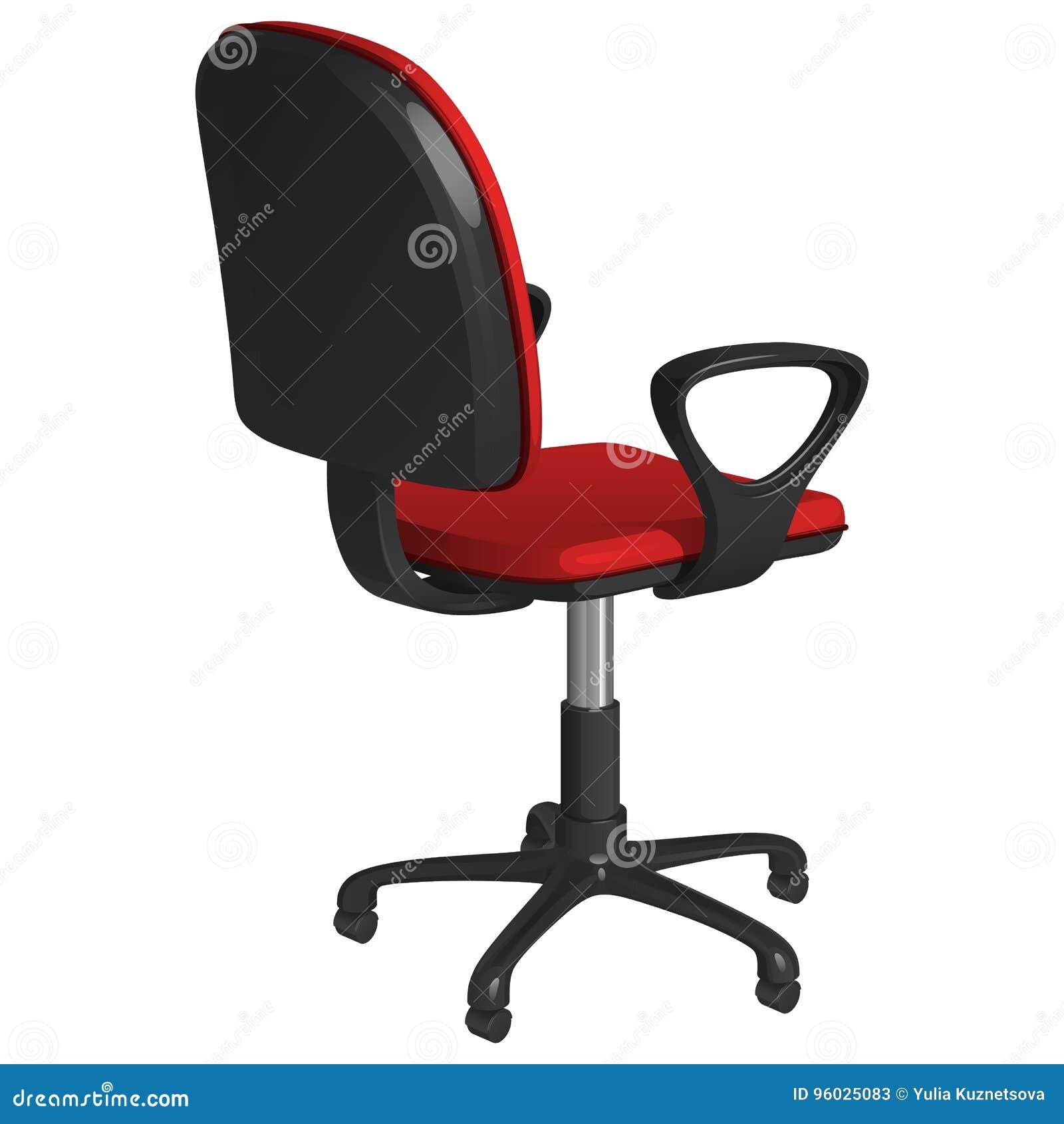 Biurowy swivel krzesło na piedestale z kołami, z czerwonym tapicerowaniem i czarnymi plastikowymi podłokietnikami, tylni widok ob