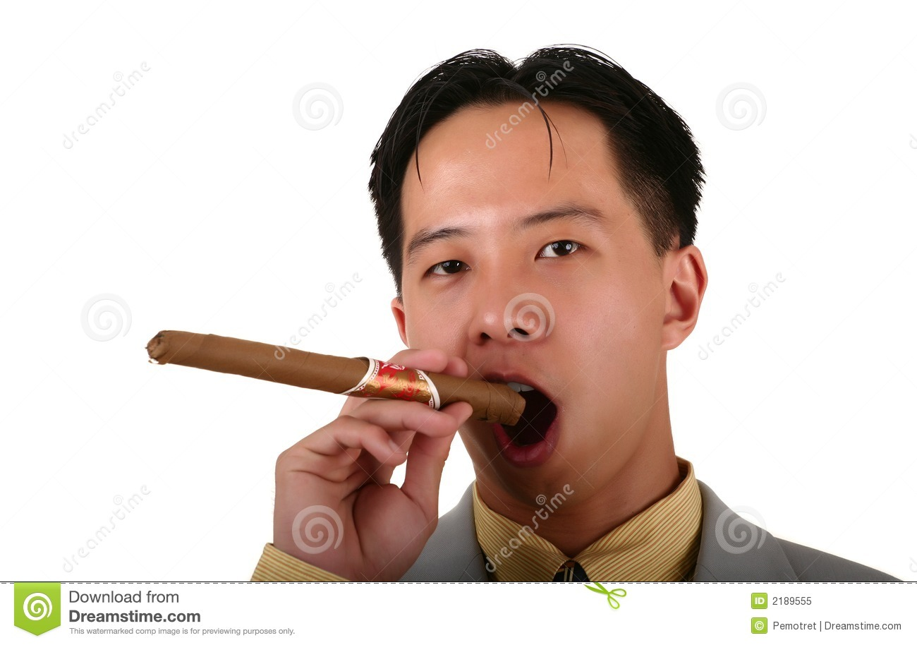 Biz Man Smoking Cigar Stock Image. Image Of Employee