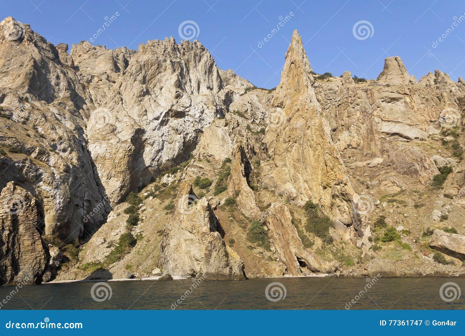 Bizarre rocks of Kara-Dag.On the coast of the Black sea.