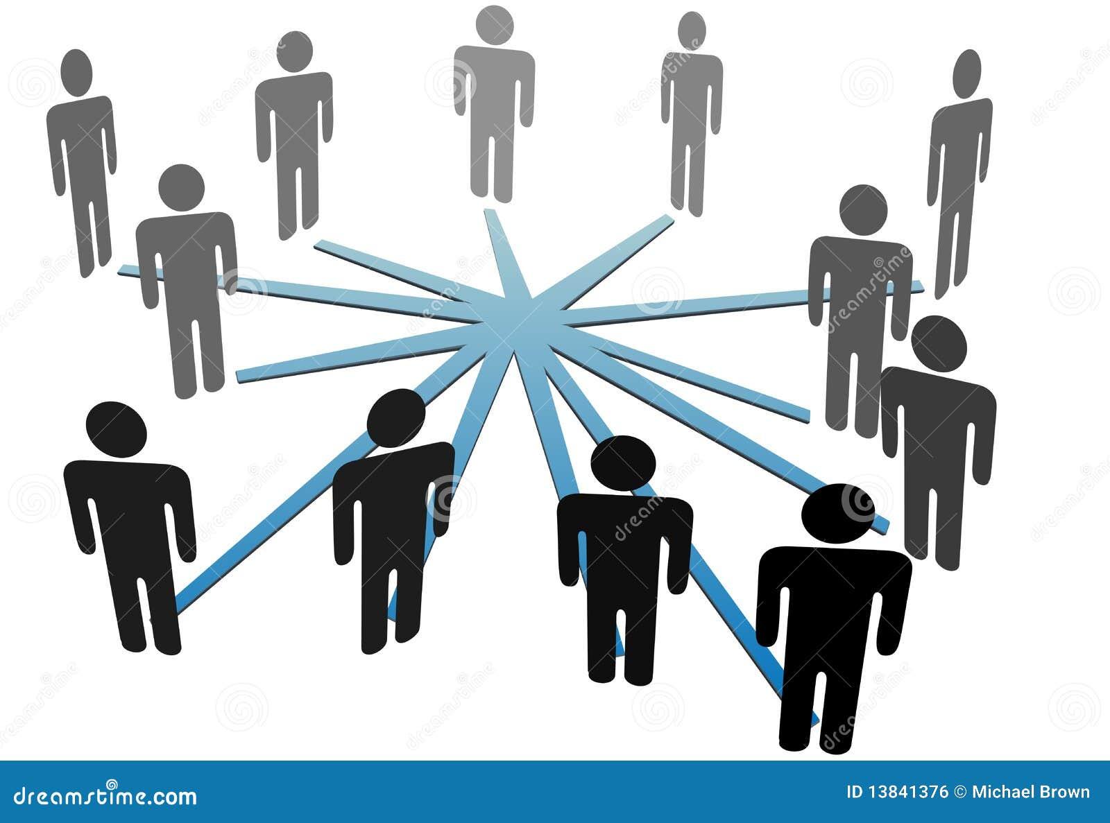 Biznes łączy ogólnospołecznych sieci medialnych ludzi
