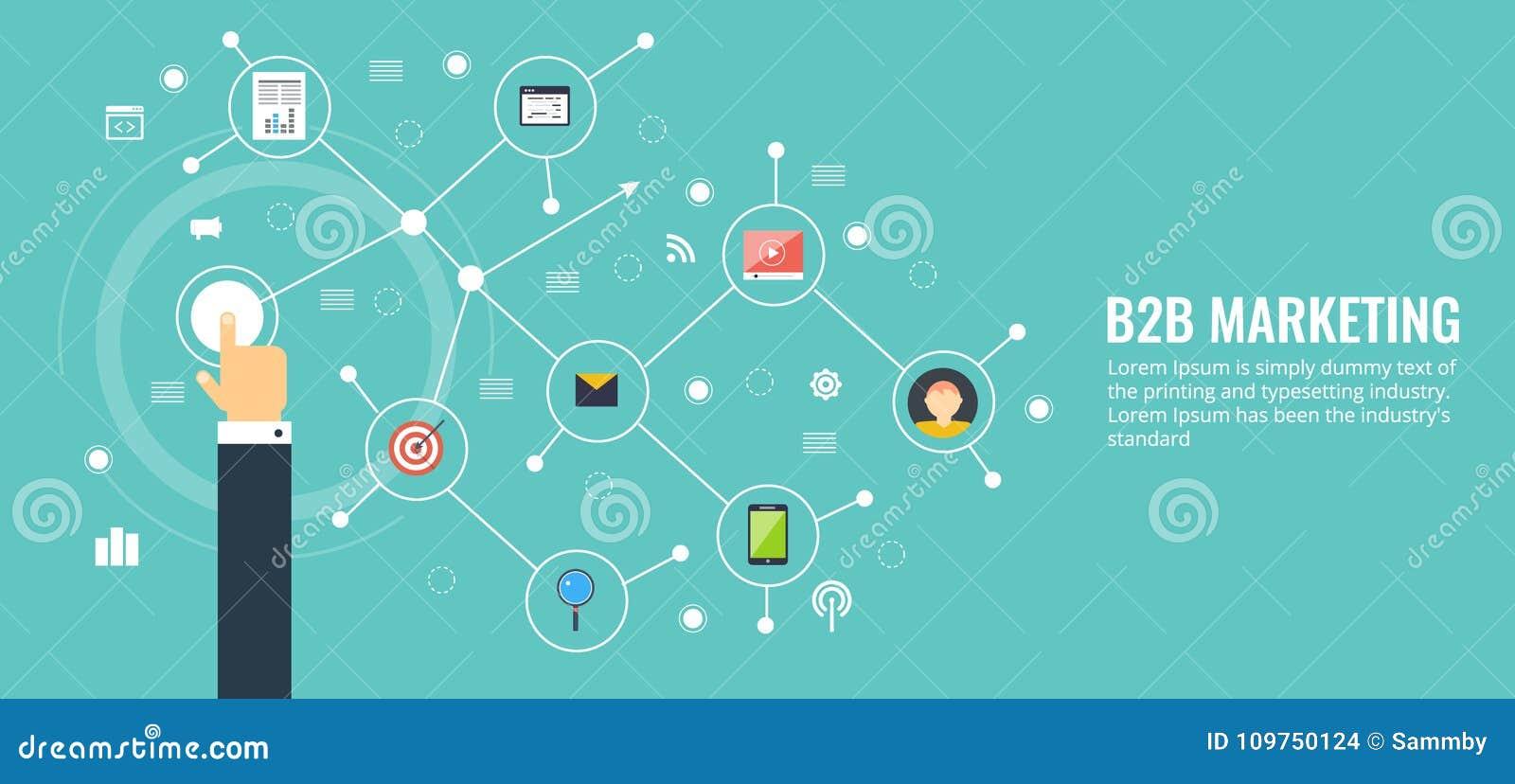 Biznes biznes, b2b, networking, komunikacja, marketingowy pojęcie Płaskiego projekta marketingowy wektorowy sztandar