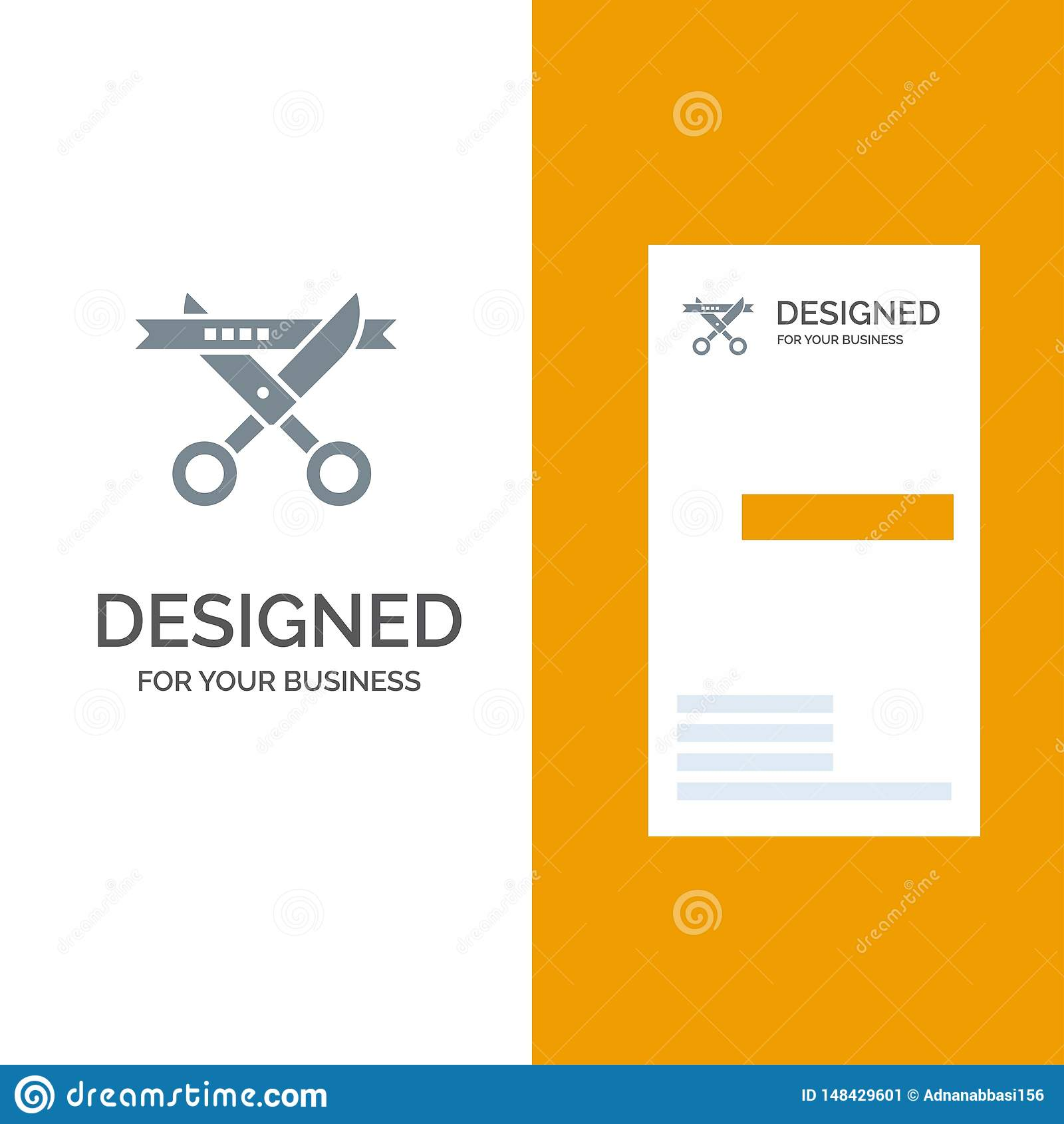 Biznes, ceremonia, Nowożytny, Otwierający Popielatego logo projekt i wizytówka szablon