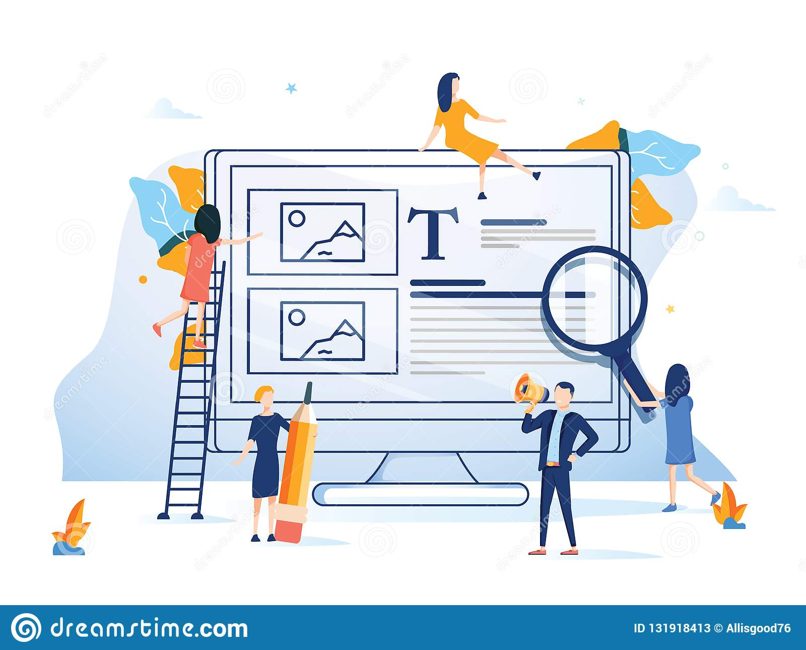 Biznes drużyna przedstawia strona internetowa projekta płaskiego stylu kolorową ilustrację Tło interneta komputerowa technologia