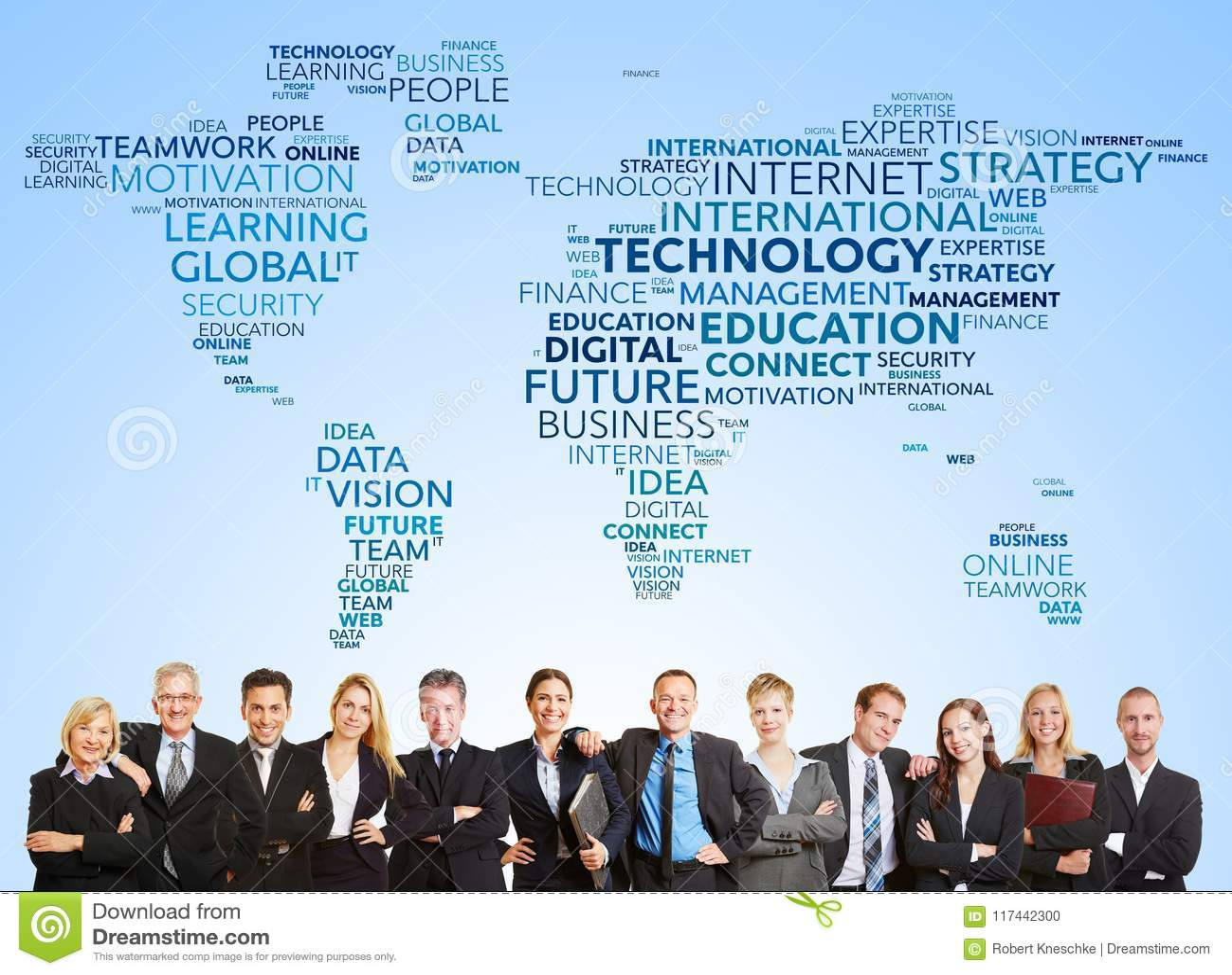Biznes drużynowa i międzynarodowa technologia