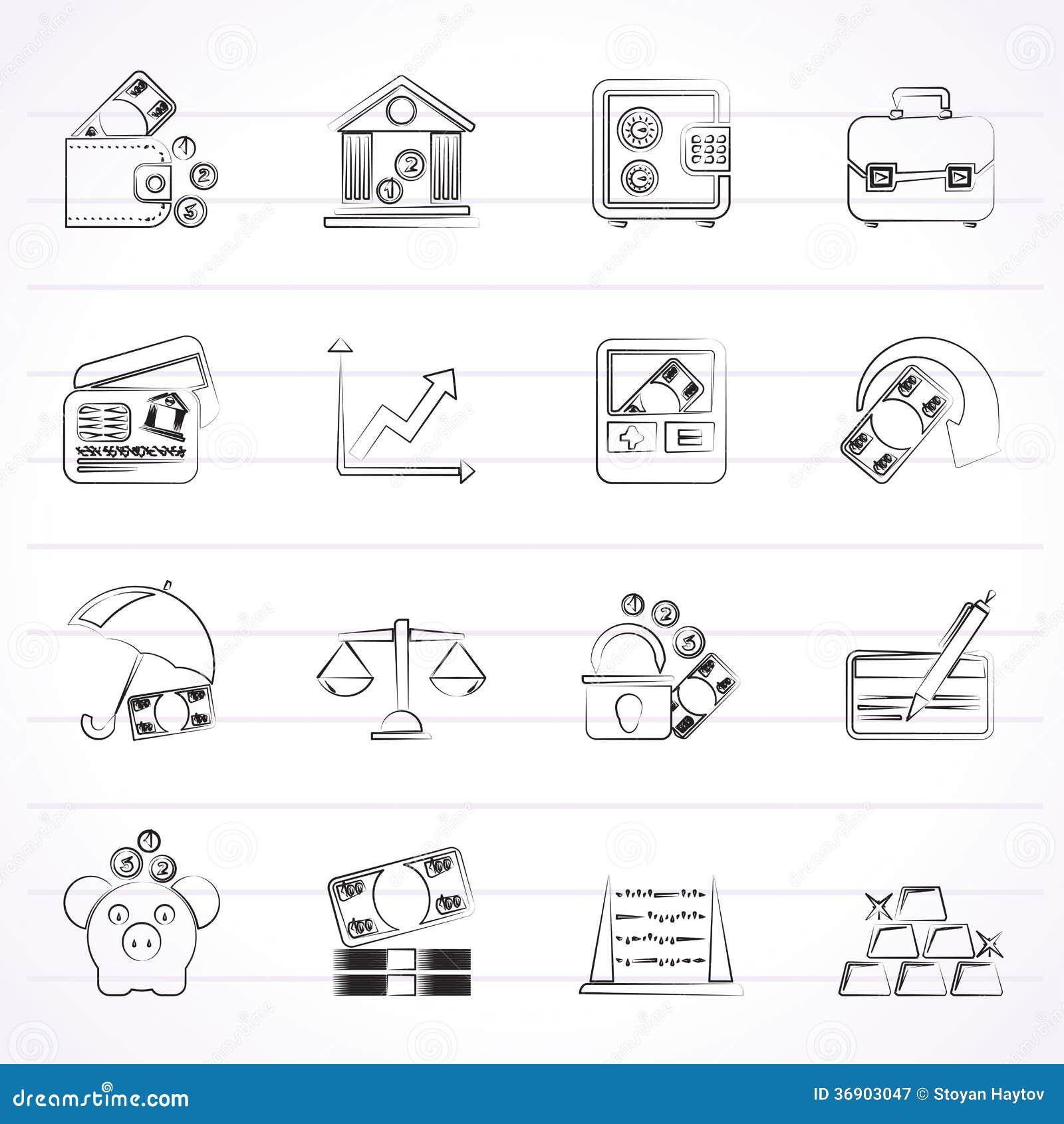 Biznes, finanse i bank ikony,