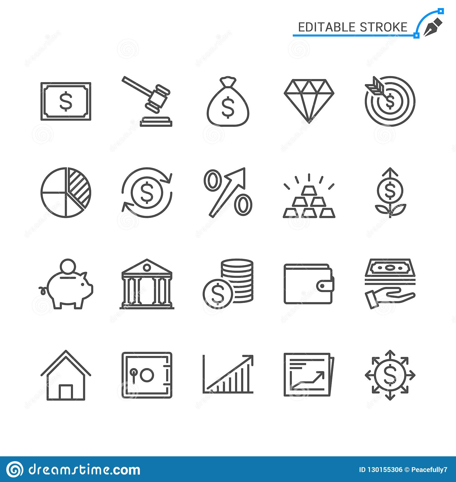 Biznes i inwestorski kontur ikony set