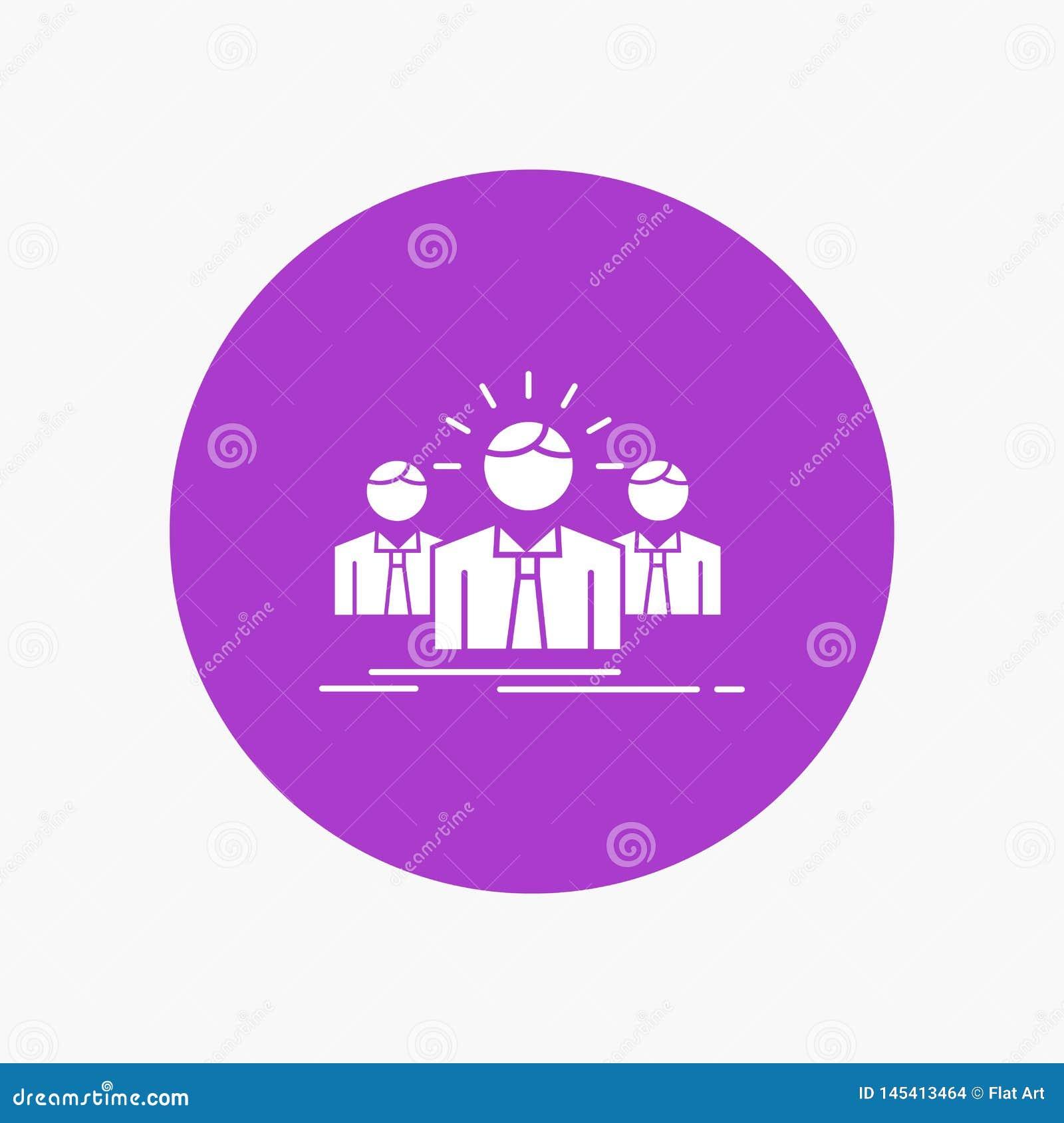 Biznes, kariera, pracownik, przedsiębiorca, lidera glifu Biała ikona w okręgu Wektorowa guzik ilustracja