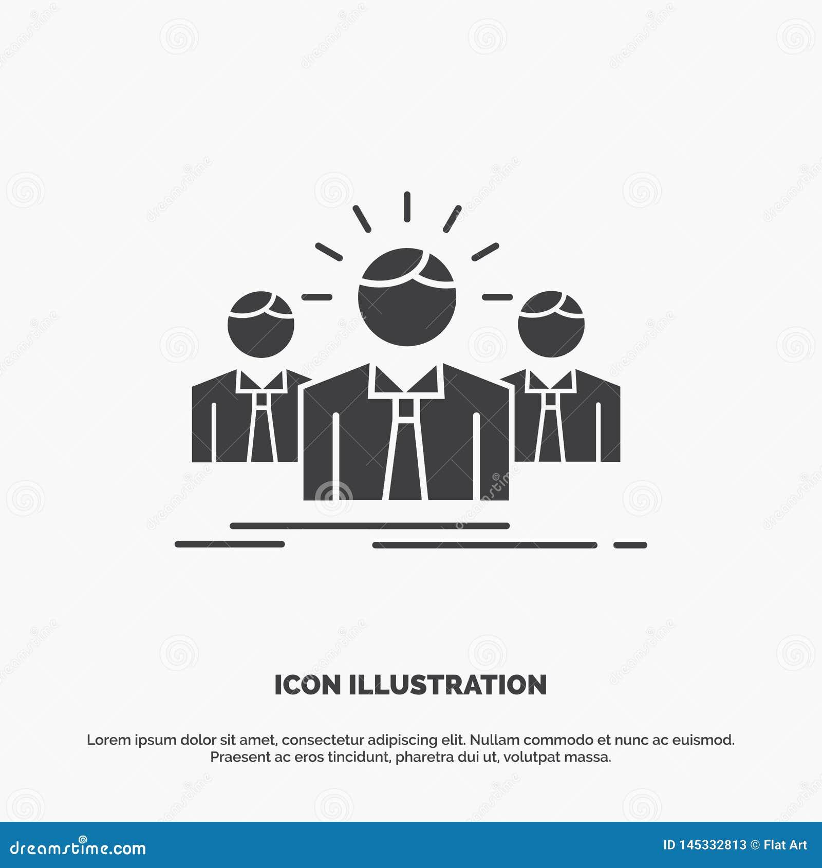Biznes, kariera, pracownik, przedsi?biorca, lider ikona glifu wektorowy szary symbol dla UI, UX, strona internetowa i wisz?cej oz