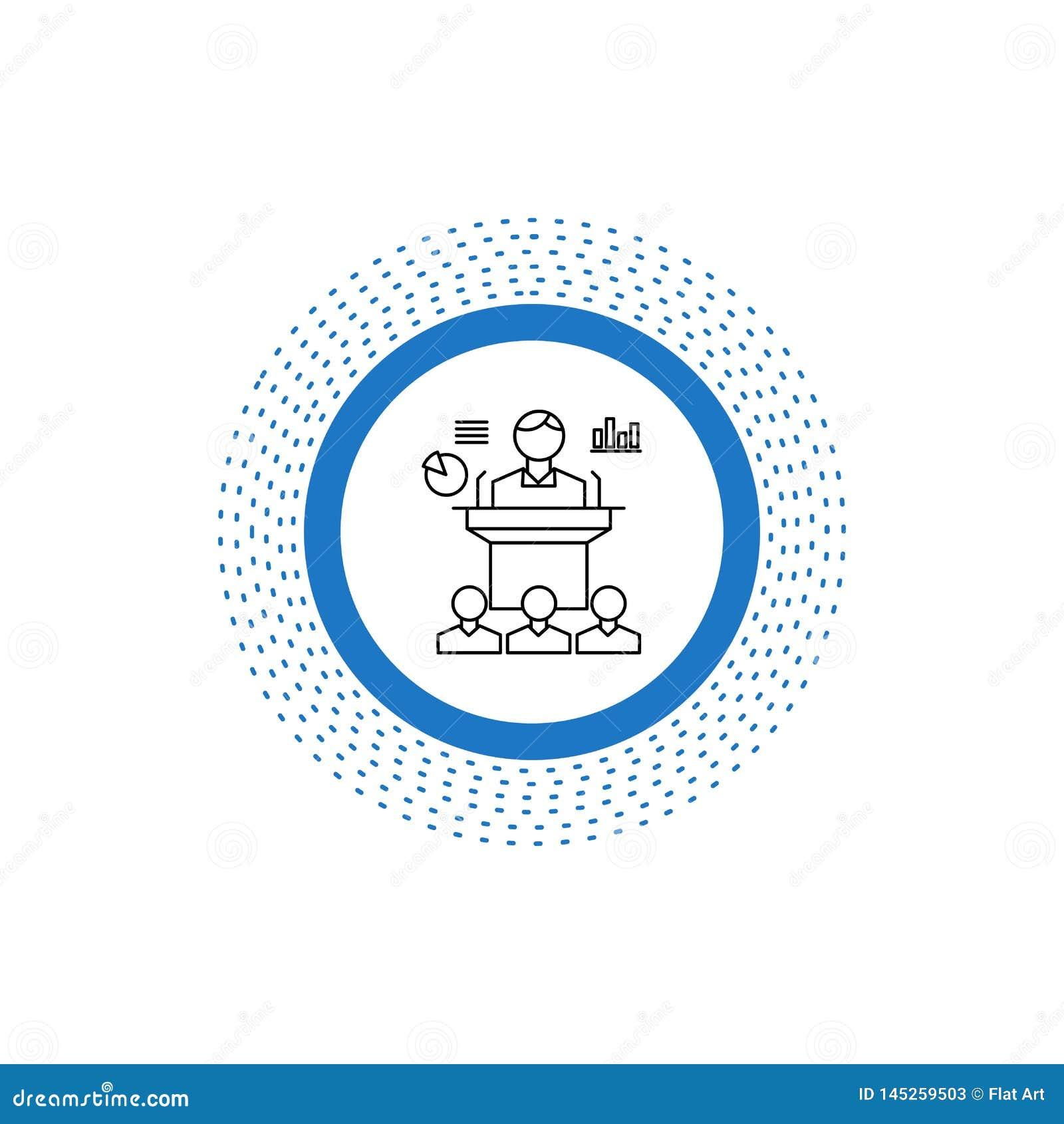 Biznes, konferencja, konwencja, prezentacja, konwersatorium Kreskowa ikona Wektor odosobniona ilustracja