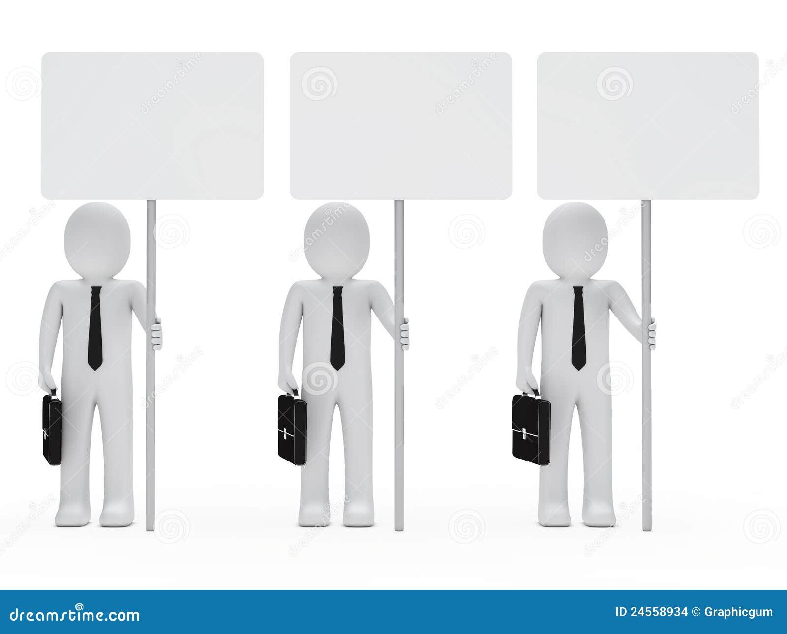 Biznesmenów chwyta signboard